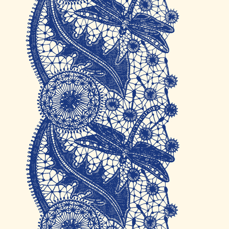 Dragonfly Lace ~ Border Print ~  Willow Ware Blue on Cosmic Latte  fabric by peacoquettedesigns on Spoonflower - custom fabric