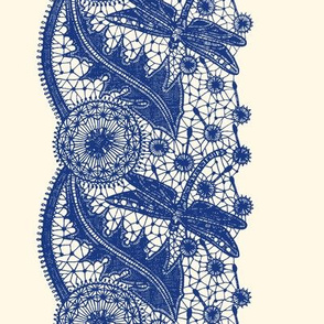 Dragonfly Lace ~ Border Print ~  Willow Ware Blue on Cosmic Latte