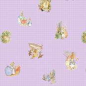 Peter Rabbit Tossed Soft Lavender Gingham