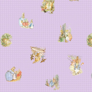Peter Rabbit Tossed Soft Lavender Gingham