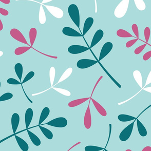 Assorted Leaves Ptn Teals Pink White