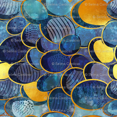 Abstract deep blue // normal scale // watercolor blue variations golden lines
