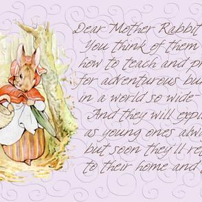 Mother Rabbit - Peter Rabbit decorative pillow - Soft Lavender Scrolls