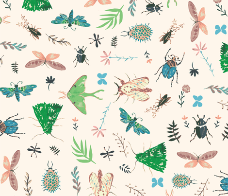 watercolor_bugs_swatch fabric by ajunebug on Spoonflower - custom fabric