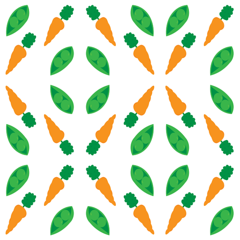 Peas And Carrots 2x2 small print fabric by pumpkintreelane on Spoonflower - custom fabric