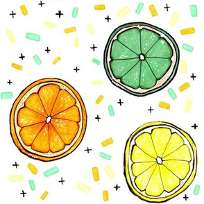 Citrus Confetti LARGE // lime, lemon, orange, summer, sweet, food, fruit, modern, trendy, bold, pop