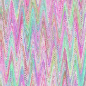 MARBLED PAPER CHEVRON  PINK MINT SHERBET WATERCOLOR