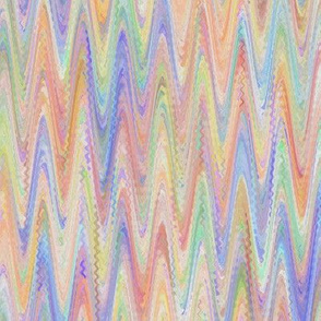 WATERCOLOR MARBLED PAPER CHEVRON ORANGE CORAL PERIWINKLE BLUE