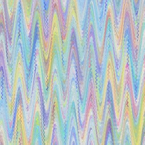 MARBLED PAPER CHEVRON WATERCOLOR BLUE YELLOW SUMMER