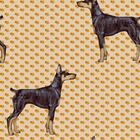 Doberman Pinscher on Beige Pawprints fabric by eclectic_house on Spoonflower - custom fabric