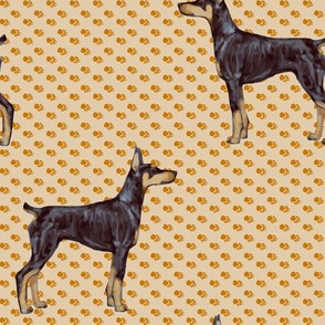 Doberman Pinscher on Beige Pawprints