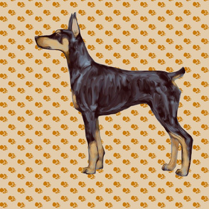 Doberman Pinscher for Pillow on Beige Pawprints