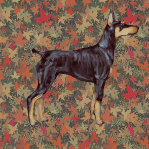 Doberman Pinscher for Pillow on Autumn Leaves