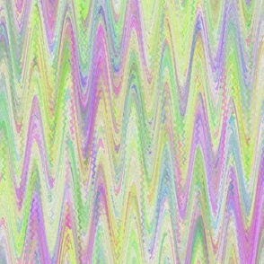 WATERCOLOR MARBLED PAPER CHEVRON LIME PURPLE SPRING