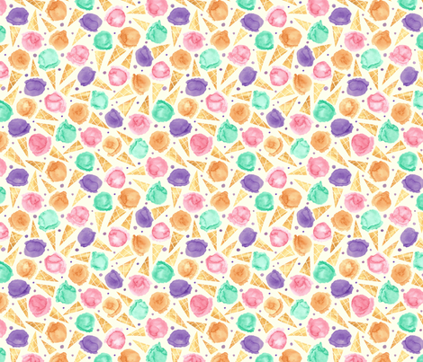 Whimsical icecream abstract fabric by lauraflorencedesign on Spoonflower - custom fabric