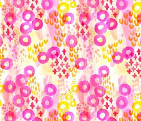 Playful Abstract Watercolor - Pink Yellow Orange fabric by tonia_dee on Spoonflower - custom fabric