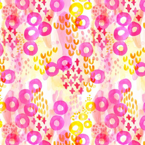 Playful Abstract Watercolor - Pink Yellow Orange