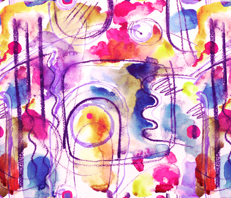 Abstract Composition - Watercolour in pink fabric by cecca on Spoonflower - custom fabric