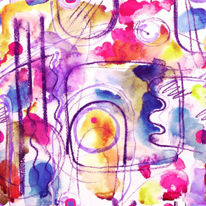 Abstract Composition - Watercolour in pink