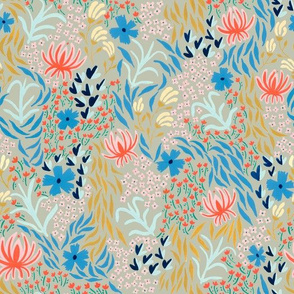 aprilfloral001spoonflowerkhaki