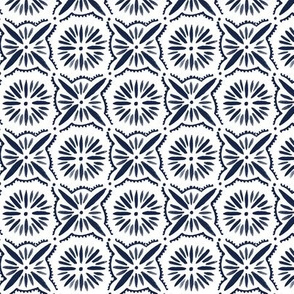 Daisy Tile - indigo and White