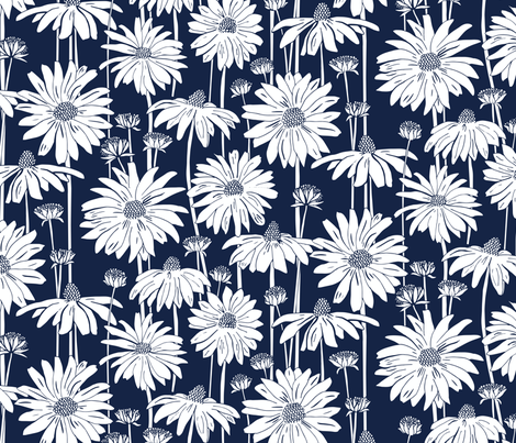 Sunshine Daisy - Indigo fabric by jillbyers on Spoonflower - custom fabric