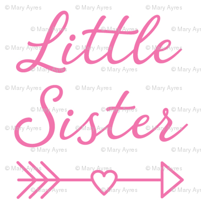 large little-sister-with-heart-arrow - bright pink