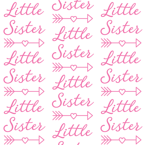 large little-sister-with-heart-arrow - bright pink fabric by lilcubby on Spoonflower - custom fabric
