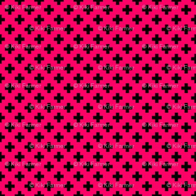 Black Crosses on Hot Neon Pink