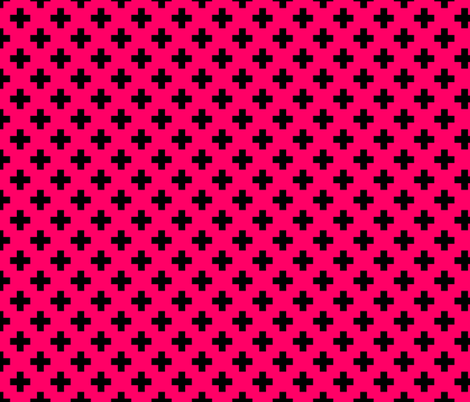 Black Crosses on Hot Neon Pink fabric by paper_and_frill on Spoonflower - custom fabric