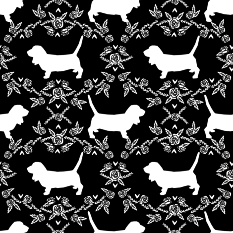 Basset Hound floral silhouette black fabric by petfriendly on Spoonflower - custom fabric
