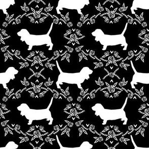 Basset Hound floral silhouette black