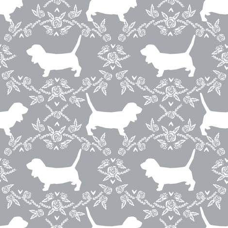 Basset Hound floral silhouette grey fabric by petfriendly on Spoonflower - custom fabric