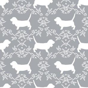 Basset Hound floral silhouette grey