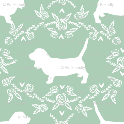 Basset Hound floral silhouette mint