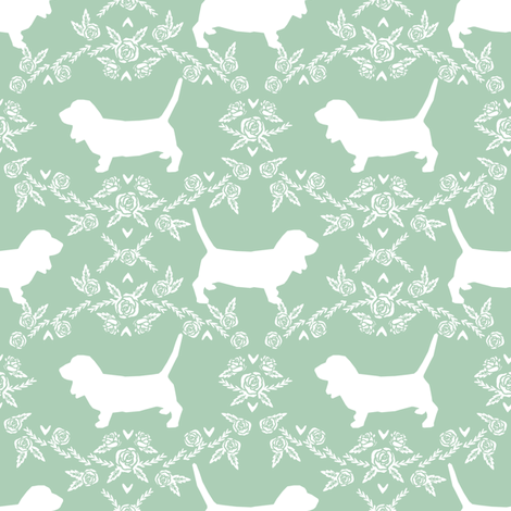 Basset Hound floral silhouette mint fabric by petfriendly on Spoonflower - custom fabric