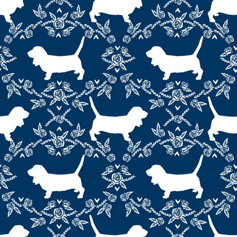 Basset Hound floral silhouette navy fabric by petfriendly on Spoonflower - custom fabric
