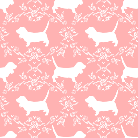 Basset Hound floral silhouette peach fabric by petfriendly on Spoonflower - custom fabric