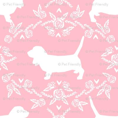 Basset Hound floral silhouette pink