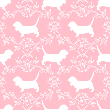 Basset Hound floral silhouette pink fabric by petfriendly on Spoonflower - custom fabric