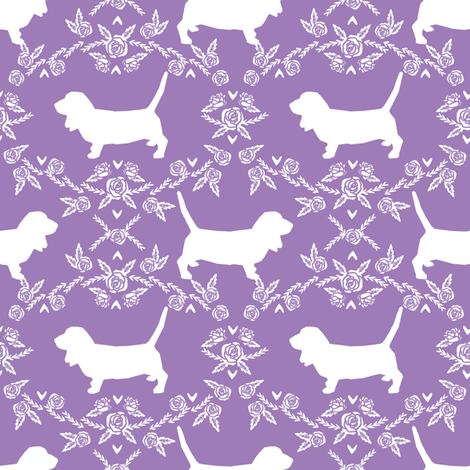 Basset Hound floral silhouette purple fabric by petfriendly on Spoonflower - custom fabric