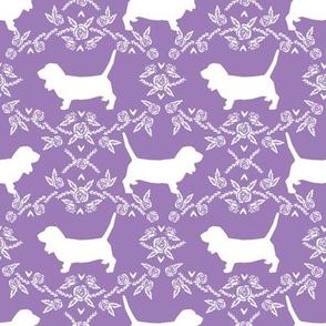 Basset Hound floral silhouette purple