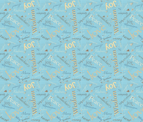 Christian Words of Hope!  - blue 152-185-206  fabric by petals_fair_-_peggy_brown on Spoonflower - custom fabric