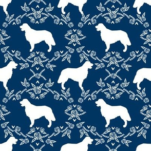 Golden Retriever floral silhouette navy