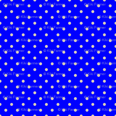 Beige Tan Polka Dots on Royal Blue