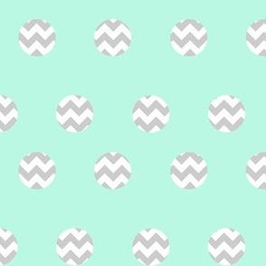 Grey Mint Chevron Dots