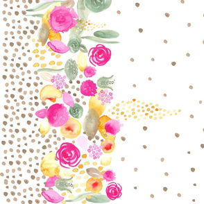 Watercolor Floral Border with Tan Polka dots 54""