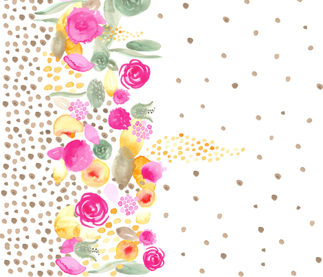 Watercolor Floral Border Tan Polka Dots 42 Fabric By Misschiffdesigns On Spoonflower
