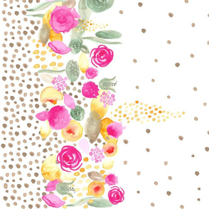 Watercolor Floral Border Tan polka dots 42""