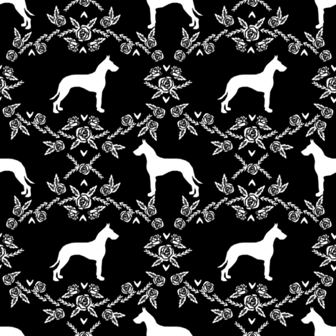 Great Dane floral silhouette dog fabric pattern black fabric by petfriendly on Spoonflower - custom fabric